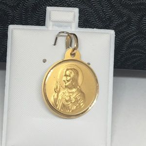 Jewelry - 14K Gold Round Reversible Jesus and Mary Pendant